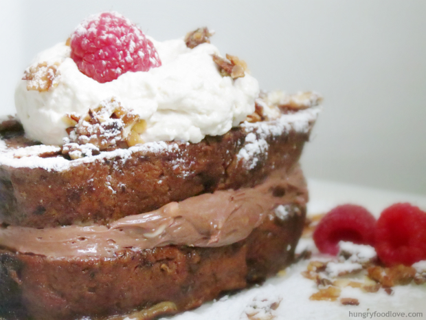 Nutella Cream Cheese Stuffed Banana Bread French Toast by hungryfoodlove.com
