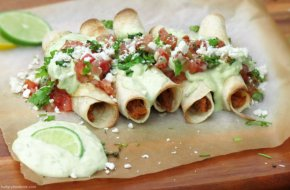 Cinco de Mayo Menu: Flautas with Cilantro Lime Avocado Cream Sauce